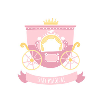 Royal princess carriage in cartoon Scandinavian style. A vector illustration in a limited pastel palette ideal for printing.