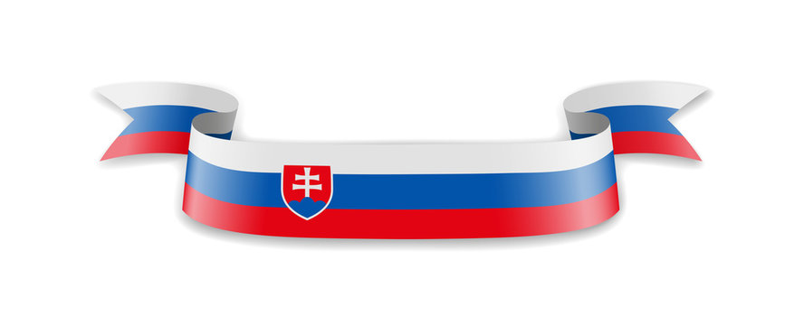 Slovakia flag in the form of wave ribbon. Vector illustration.