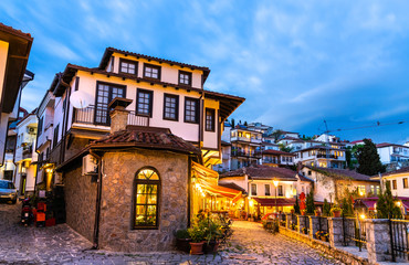 Wall Murals Northern Europe Traditional houses in Ohrid, North Macedonia