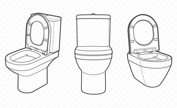 outline vector toilet, bodet, pan and bowl. For wc room or bathroom at home.