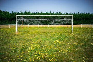 Abandoned weathered soccer goal on the meadow Fotoväggar