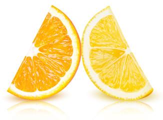 Ripe slices of yellow lemon and orange citrus fruits stand isolated on white background. Lemon and orange citrus fruit wedge with clipping path