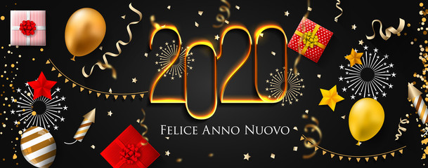2020 New Year Italian greeting card (Felice Anno Nuovo 2020). Italian 2020 New Year Version. Italian 2020 Happy New Year background Version.