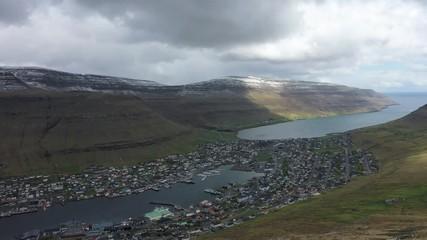 Wall Mural - Flight over the city of Klaksvik on Faroe Islands, Denmark