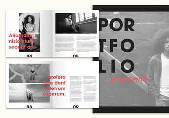 Square Black and White Portfolio Layout with Red Script Accents