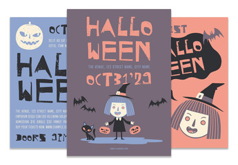 Cartoon Style Halloween Events Flyers Layouts