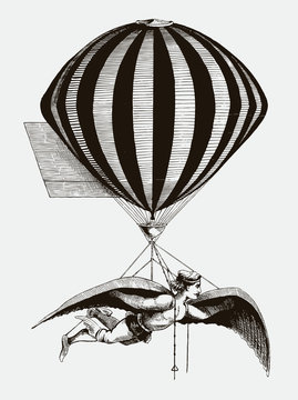 Historical aerialist wearing wings while suspended from a balloon. Illustration after an antique woodcut from the 19th century