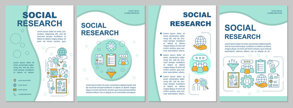 Social research brochure template layout. Sociology. Social poll, survey. Flyer, booklet, leaflet print design with linear illustrations. Vector page layouts, annual reports, advertising posters