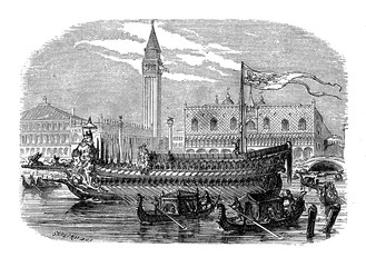 The bucentaur was the state barge of the doges of Venice used on Ascension Day to take the doge out to the Adriatic Sea to perform the 'Marriage of the Sea'  wedding rite of Venice to the sea