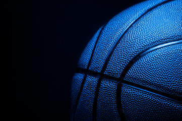 Closeup detail of blue basketball ball texture background