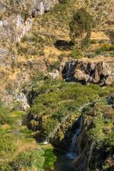 Streams and waterfalls feeding the natural pools of the Millpu Blue Lagoons, Ayacucho, Peru