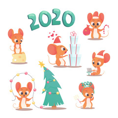 Vector set New Year congratulation design. mouse portrait cartoon illustration. Holiday card design element. Merry Christmas, happy New Year 2020 memory card, advertisement design. Chinese year symbol
