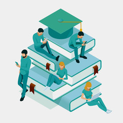 Isometric Training, Online Learning, Webinar, Online Education, Business Training. Flat Illustration Knowledge Expertise Intelligence Learn Concept