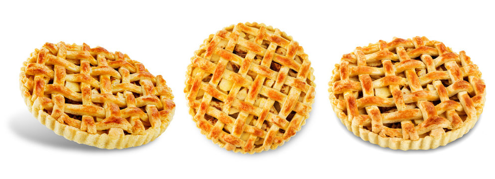 Apple pie on a white isolated background