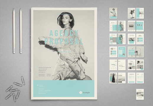 Agency Proposal Layout in Black and White with Cyan Accents