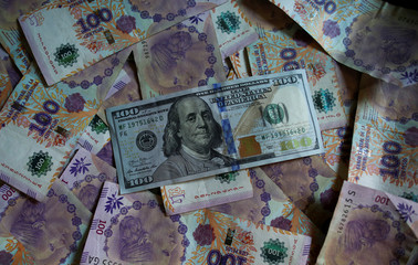 Argentine one hundred peso bills sit underneath United States one hundred dollar bill in this picture illustration