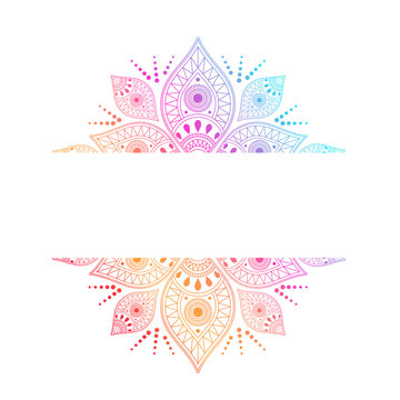 Colorful intricate mandala with central white ribbon for copy space incorporating different symbols in a geometric pattern, vector design