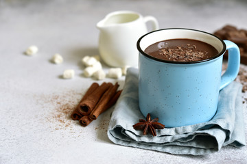 Foto auf Acrylglas Schokolade Hot chocolate - winter spicy drink.