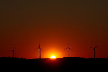 Power-generating windmill turbines are pictured during sunset at a wind park in Campeneac