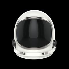 White vintage astronaut helmet - isolated on black background