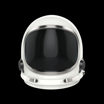 White vintage astronaut helmet - isolated on black background