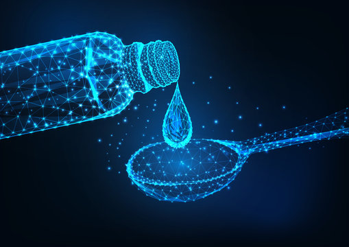 Futuristic glowing low polygonal medicine bottle, liquid drop and dosage spoon on dark blue background.