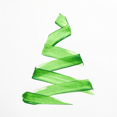 Minimalist painting of Christmas tree on white background