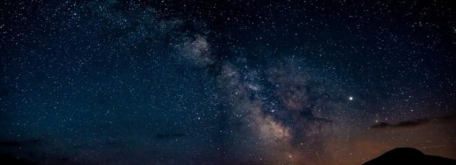 Panorama of Milky Way in Durmitor in Montenegro, Europe