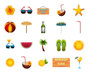 Wall Mural - bundle of summer time set icons