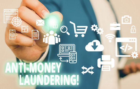 Text sign showing Anti Money Laundering. Business photo text regulations stop generating income through illegal actions Male human wear formal work suit presenting presentation using smart device