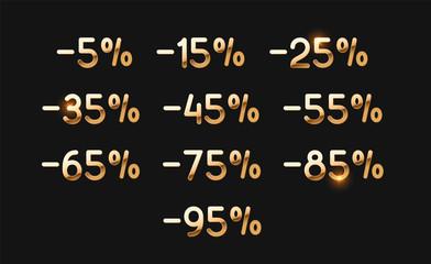 Discounts gold numbers. Elements design sale golden sign. Percentage 5%, 15, 25, 35, 45, 55, 65, 75, 85, 95. percent discount