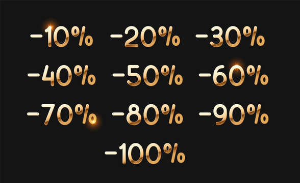 Discounts gold numbers. Elements design sale golden sign. Percentage 10%, 20, 30, 40, 50, 60, 70, 80, 90, 100. From ten to one hundred percent discount
