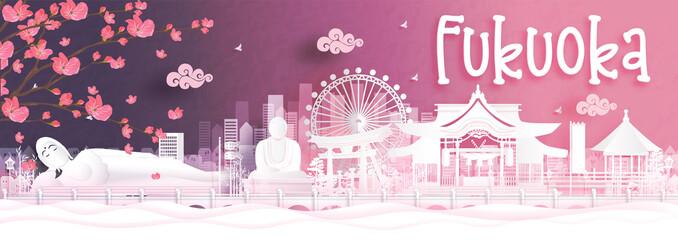 Fototapete - Autumn season with falling Sakura flower and Fukuoka, Japan world famous landmarks in paper cut style vector illustration