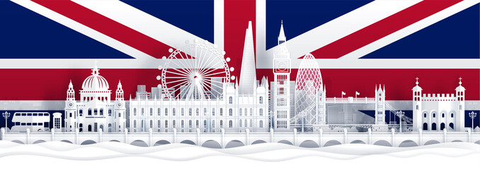 Fototapete - England flag and famous landmarks in paper cut style vector illustration.
