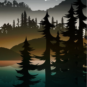 Background green realistic nature of the forest and mountains