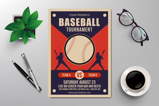 baseball tournament flyer template retro design vector
