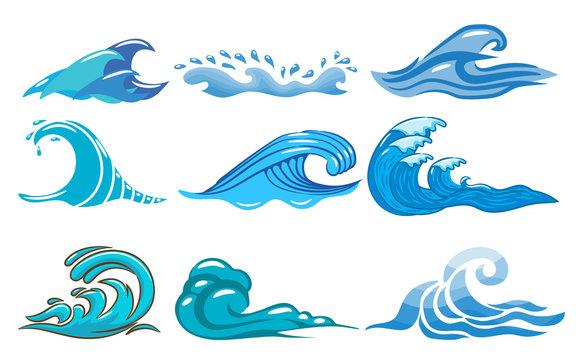 wave vector set  clipart design
