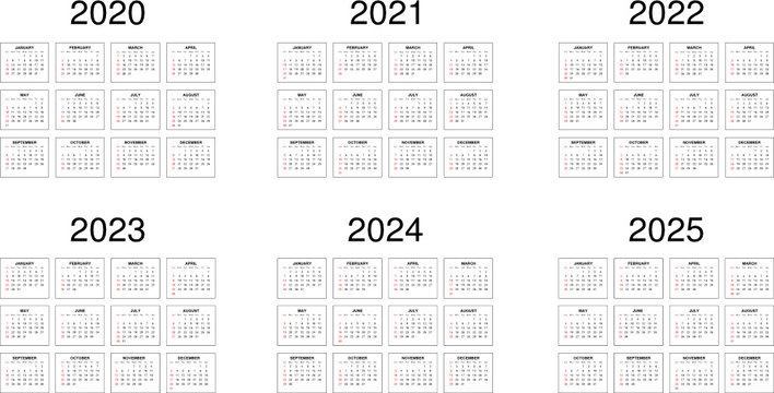 Six years calendar - 2020, 2021, 2022, 2023, 2024 and 2025.