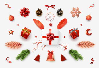 Set realistic Christmas objects for your design isolated on white background. Elements gift box, lush bows, pine branches, pine cone, decorative snowflake, xmas ball and confetti, bells, and old watch Wall mural