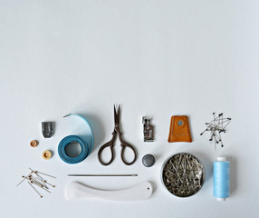 Sewing and quilting supplies background