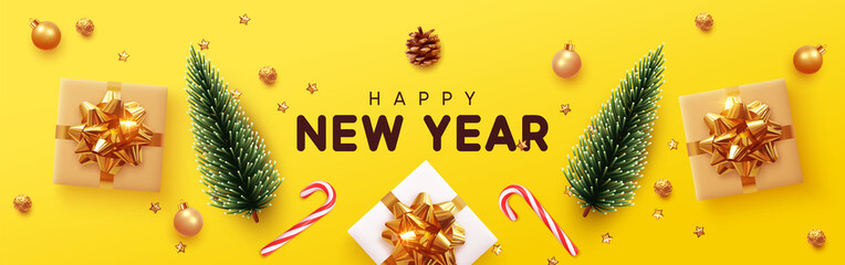 Happy New Year banner, Xmas decorative design elements with gifts box and golden tinsel. Horizontal Christmas posters, greeting cards, headers, website. Objects viewed from above. Flat lay, Top view