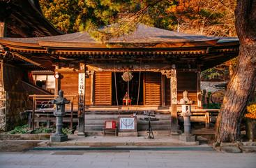 Nenbutsu hall at Yamadera Risshaku ji temple in Yamagata, Japan