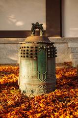 Antique bronze bell in Japanese Buddhist Yamadera Risshaku ji temple, Yamagata