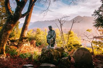 Matsuo Basho Japanese poet statue at Yamadera Risshaku ji temple, Japan