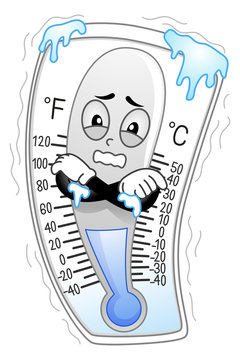 Mascot Thermometer Freezing Illustration
