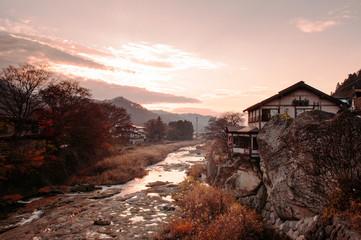 Japanese house on rock cliff by Tachiya river in Yamadera, Yamagata - Japan