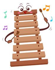 Mascot Wooden Xylophone Illustration