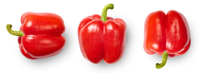 Red peppers isolated on white background. Top view. Fototapete