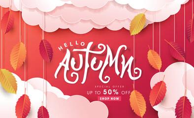 Fototapete - Autumn calligraphy .Seasonal lettering.autumn sale  banner background.vector illustration
