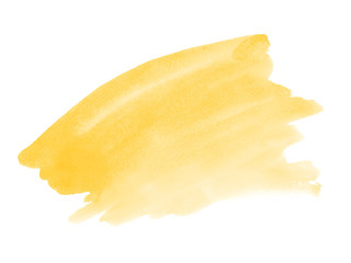 Yellow watercolor brush stain. Colorful backgound element for design.